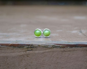 Jade Stud Earrings // Wire Wrapped Studs // Post Earrings // Gemstone Earrings // Jade Studs // Silver Stud Earrings // Gift For Her