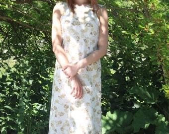 White Organza floral print dress, full length