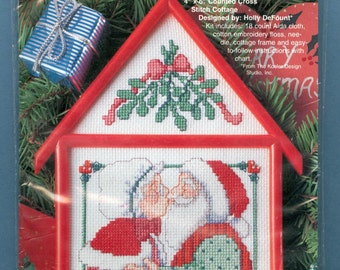 1995 Christmas Cottage Under the Mistletoe Counted Cross Stitch Designed by Holly DeFount - Vintage Bucilla Gallery of Stitches Kit 33493
