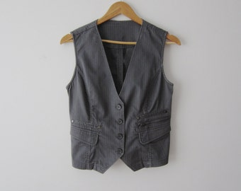 Women's Grey Vest Striped Vest Everyday  Fitted Waistcoat Small Size Vest