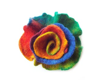 Felted flower brooch felt flower multicolor flower felt wool floral brooch rainbow colorful merino wool brooch summer boho gift OOAK