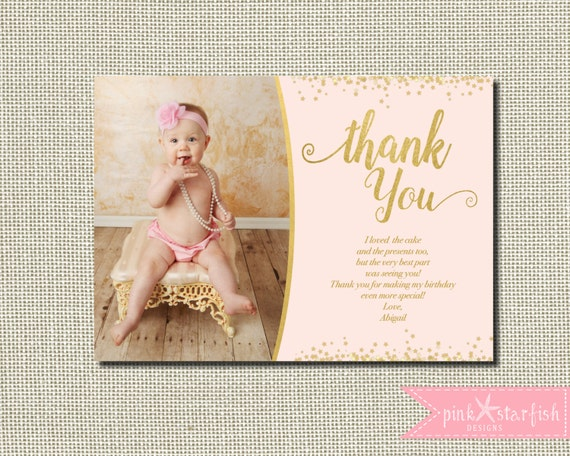 Pink and Gold Thank You Card Birthday Thank You Card Glitter – First Birthday Thank You Cards