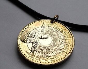 Colombia 1000 pesos coin pendant Colombian Loggerhead sea turtle ocean Columbia Medellin Bogota beach turtles charm necklace jewelry n000299