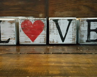 Hand Painted and Distressed LOVE Valentine's Wooden Block Set, Valentines Decor, Rustic Wedding Decor, Shelf Sitter Blocks, FREE SHIPPING