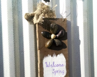 Spring Door Hanger, Rustic Wood Sign, River Rock Flowers, Welcome Spring, Sun Decorations, Hand Painted, Recycled barn wood