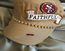 Cadet Hat, SF 49er Cadet Hat, SF, 49er, Tan Cadet Hat, Football Team,  Bling Hat, Spirt Hat, Womens Hat, Swarovski Crystal Hat