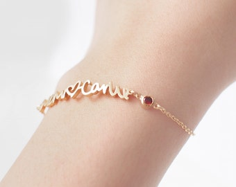 Actual Handwriting Bracelet with Birthstone - Personalized Memorial Signature Bracelet - Quality Silver, 18K Gold Plated, Rose Gold - LA03MD
