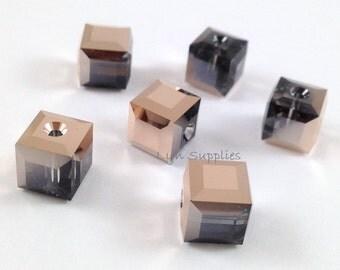 5601 ROSE GOLD 8mm 6pcs Swarovski Crystal Cube Beads RARE