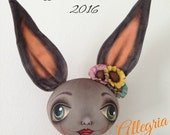 "Allegria, an OOAK 29"" tall Primitive Folk Art with a Little 'Whimsy' touch, Spring Easter Bunny Rabbit FAAP Team Cloth Doll"