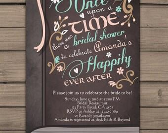 Once Upon a Time Bridal shower invitation Bridal invite Pink Coral Fairy Tales Storybook Bridal shower invitations Digital PRINTABLE DIY