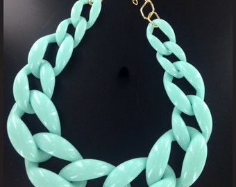 Chunky Link Chain Necklace Mintgreen