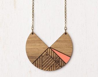 Lunar - Peach Geometric Tribal Wood Necklace - laser cut