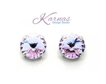 VIOLET 12mm Rivoli Stud or Post Earrings Made With Swarovski Elements *Pick Your Finish *Karnas Design Studio *Free Shipping*