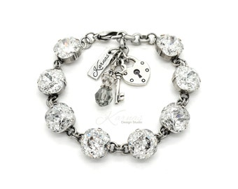 CRYSTAL SILVER PATINA 12mm Crystal Cushion Cut Pendant Bracelet Swarovski Elements *Pick Your Finish *Karnas Design Studio *Free Shipping*