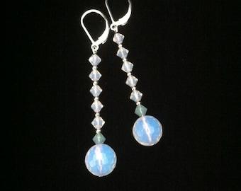 Sterling Silver Opalite & Swarovski Earrings