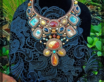 Bead Embroidered Statement Necklace With Agate and Jasper Stones