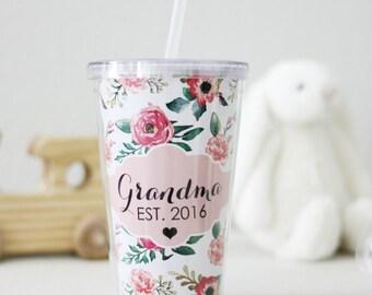 Grandma Established Tumbler Grandma Cup Birth announcement grandparents gift grandma gift