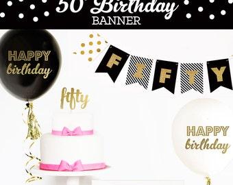 happy 50th birthday banner 50th birthday decorations 50th birthday ideas cheers to 50 - 50th Birthday Party Decorations