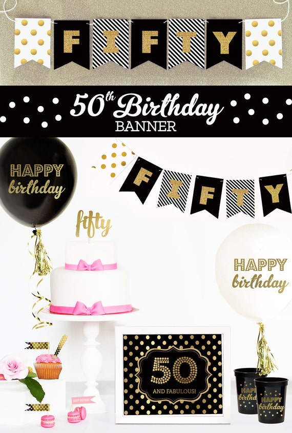 Happy 50th birthday banner 50th birthday decorations 50th for 50th birthday party decoration