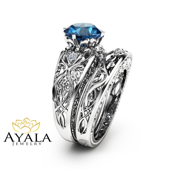 London blue topaz engagement ring set unique 14k white gold for Blue topaz wedding ring sets