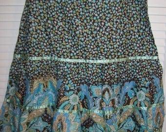 Vintage Island Republic Peasant Colorful Cotton Skirt Size 6 - 8