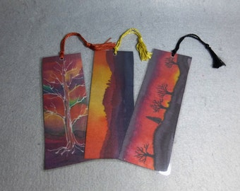 "Silk Art Bookmarks (set of 3) ""Sunset Colors"""