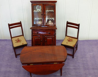 Elegant Vintage Varnished Wood Dollhouse Furniture   Dining Room Set   Drop Leaf  Table   Upholstered Chairs