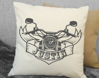 Personalized Motorcycle Pillow, Vintage Motorcycle, Harley Davidson Styling, Biker Pillow, Vintage Harley Decor, Personalized Gift SPS-147