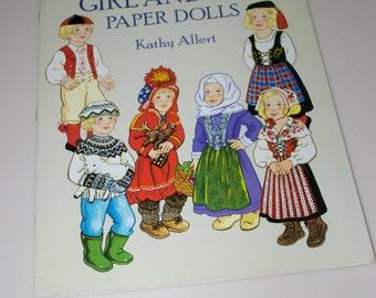 Kathy Allert Scandinavian Girl and Boy Paper Dolls Book Complete Uncut 1993