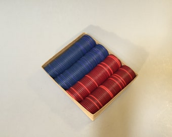 VINTAGE POKER CHIPS, Vintage red blue poker chips, Chipboard poker chips, cardboard chips, silent poker chips, game room pieces, game night