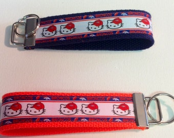 Key fob/wristlet keychain broncos Kitty orange or blue
