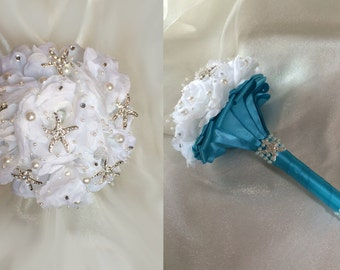 Beach Bouquet, Bridesmaid Bouquet, Brooch Bouquet, Destination Wedding Bouquet, Mini Bouquet, Choose your accent color