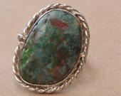 Sterling Silver Green Jasper Statement Ring with Rope Detail  Size 7