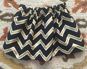 Chevron New Orleans Saints Skirt- Toddler/Girls - Chevron- Black and Gold- Metallic skirt