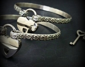 HANDCUFF Bracelets, BDSM Submissive Locking & Discreet Day Cuffs, Lokelani Rose, Floral Cuffs, Romantic, Made To Order #8888