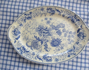 Taylor Smith & T. Platter - Center Bouquet Blue Pattern - Laurel Empireshape - Blue Stoneware Platter -