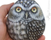 Little Owl Hand Painted On a Smooth Sea Rockl! A Stunning Piece for All of You, Owl Lovers!