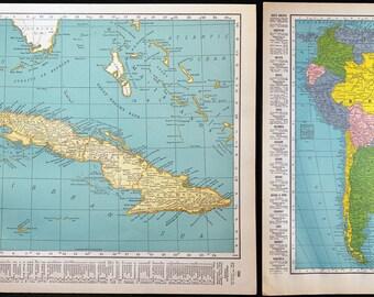 Cuba / South America Atlas Map Vintage Original Color Lithograph Map Wonderful for Display
