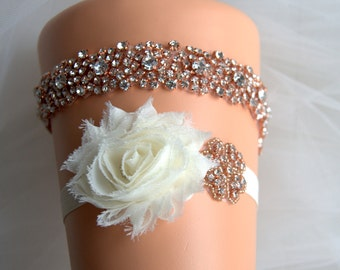 Rose gold Crystal Bridal Garter Set Wedding Garter Set Ivory White Shabby Chic Rhinestone Crystal Rhinestone Garter and Toss Garter Set