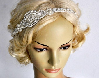Long Bridal Headband Crystal Pearls Rhinestone Wedding Headband Headpiece, Halo Bridal Flapper 1920s Great Gatsby Headband Headpiece