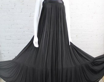 1970s Hanae Mori Dress Gown Black Dramatic Sheer Pleated Full Sweep Maxi Avant Garde XS