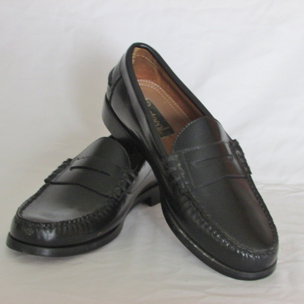 Mens Leather Black Loafer Shoes Size  Wide