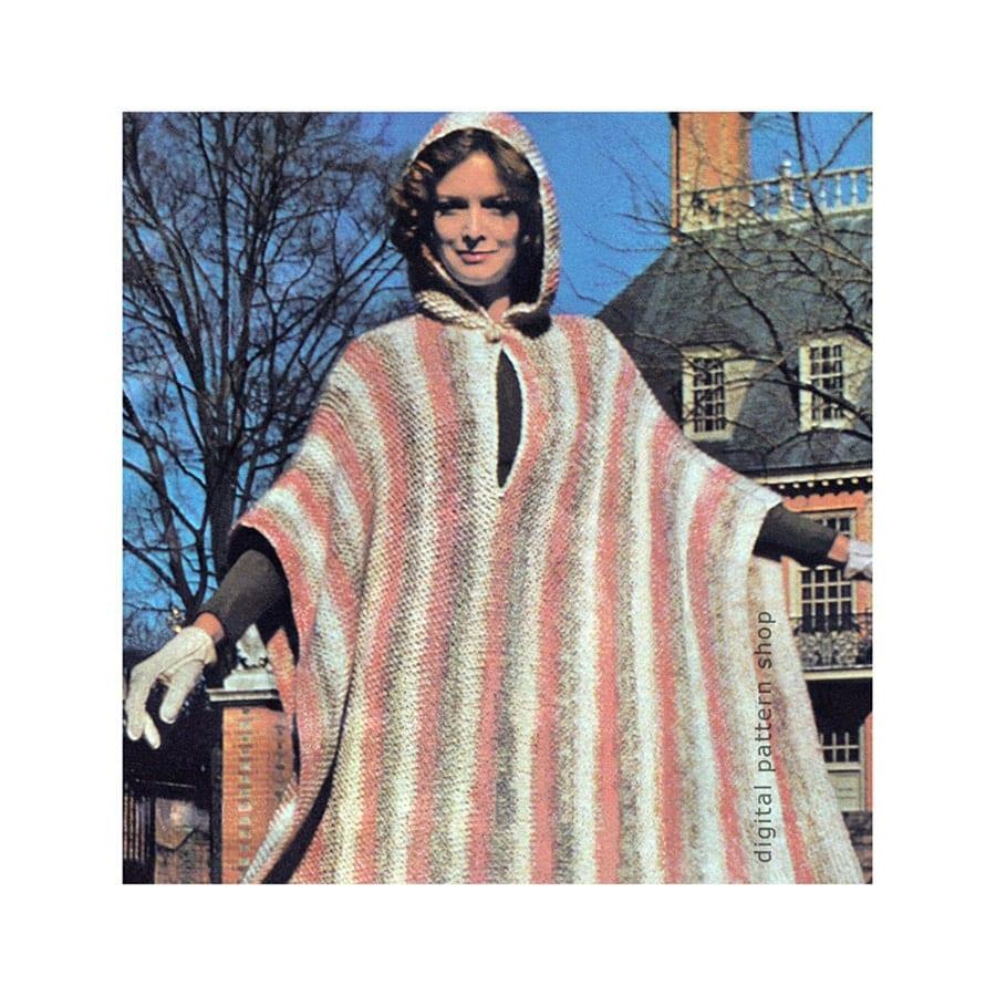 Mens Hooded Poncho Knitting Pattern : Knit Poncho Pattern Vintage Hooded Poncho Knitting Pattern
