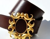 Vintage BrownLeather Waist Cincher Cinch with Gold Ornate Buckle Medium