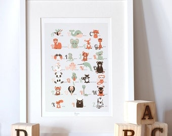 educative poster  for children- Animal alphabet - french