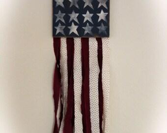 "American Patriotic Rag Flag Wall Art -  9-1/2"" x 30"""