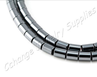 Barrel Tube Hematite, (6mm x 5mm) Barrel Hematite Beads, 1 Strand (65pcs) Black Hematite Beads, Natural Hematite Beads / HBY-005