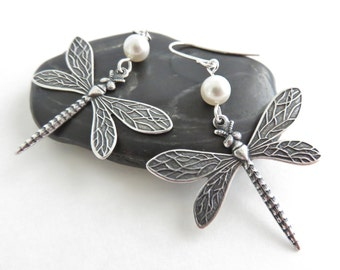 Silver Dragonfly Earrings With White Pearls - Dragonfly Jewelry, Insect Jewelry, Sterling Silver Earrings, Big Earrings, Bohemian Jewelry