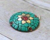 One Large Tibetan Pendant - Turquoise Coral and Brass Inlay - Flower - Circle Pendant - Handmade - Jewelry Supply - Craft Supply - Ethnic