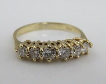 Vintage 1940's 14k Gold Diamond Stacking Band Ring.